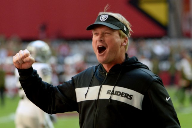 Oakland Raiders head coach Jon Gruden previously expressed his displeasure at the possibility of the Raiders being on Hard Knocks. File Photo by Art Foxall/UPI