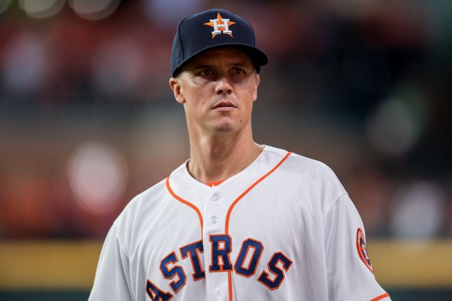 Houston Astros starting pitcher Zack Greinke is 18-5 with a 2.93 ERA this season. He allowed two hits and issued one walk in 8.1 scoreless innings against the Seattle Mariners Wednesday in Seattle. Greinke also tossed nine strikeouts in the start. Photo by Trask Smith/UPI