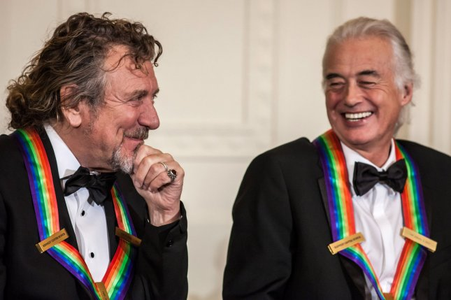 Jimmy Page (R) and Robert Plant at the Kennedy Center Honors ceremony in 2012. File Photo by Brendan Hoffman/UPI
