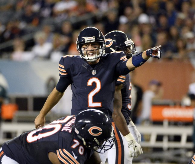 779dfd8b54d Chicago Bears quarterback Brian Hoyer signals during the fourth quarter  against the Philadelphia Eagles at Soldier Field in Chicago on Sept. 19.