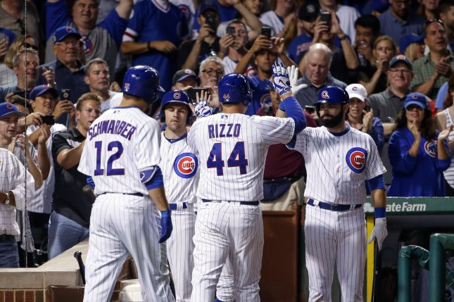 Chicago Cubs Anthony Rizzo (44) celebrates with teammates after hitting a solo home run off Cincinnati Reds Asher Wojciechowski in the fourth inning at Wrigley Field on August 14, 2017 in Chicago. Photo by Kamil Krzaczynski/UPI