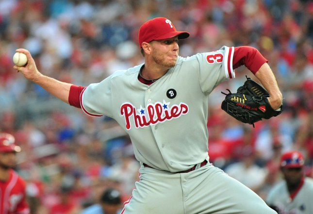 Former Philadelphia Phillies pitcher Roy Halladay died on Tuesday after his plane crashed off the coast of Florida into the Gulf of Mexico, Pasco County Sheriff's Office said. File Photo by Kevin Dietsch/UPI