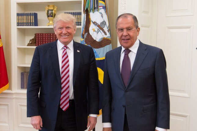In photos released in May, President Donald Trump meets with Russian Foreign Minister Sergey Lavrov in Washington, D.C. Lavrov says European countries are paying too much for U.S. natural gas. Official White House Photo by Shealah Craighead/UPI