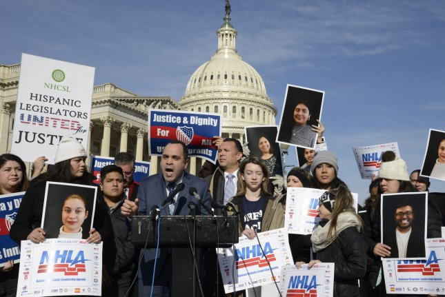 Hispanic Federation President Jose Calderon speaks as pro-immigration demonstrators rally outside the U.S. Capitol on January 19. Democratic and Republican lawmakers have signed a discharge petition that could allow them to work around GOP leaders to force action on immigration issues. File Photo by Mike Theiler/UPI