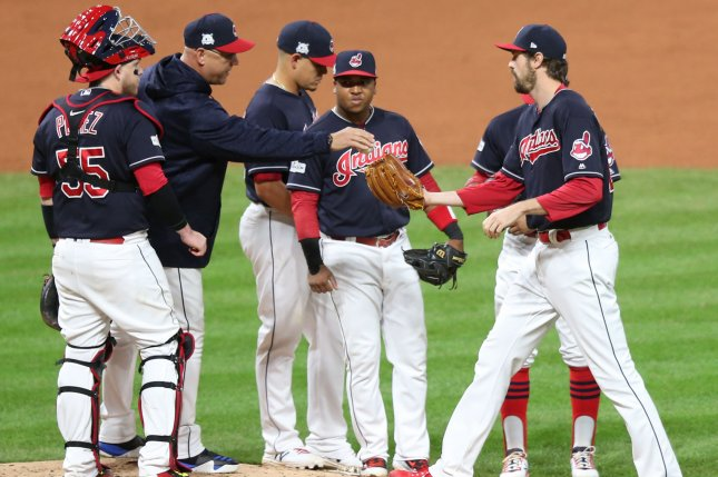 Cleveland Indians manager Terry Francona gives the ball to reliever Andrew Miller. Photo by Aaron Josefczyk/UPI