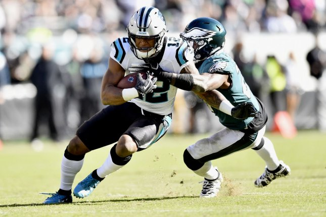 Carolina Panthers wide receiver D.J. Moore (12) runs the ball past Philadelphia Eagles strong safety Malcolm Jenkins (27) during the fourth quarter of an NFL football game on October 21 at Lincoln Financial Field in Philadelphia. Photo by Derik Hamilton/UPI