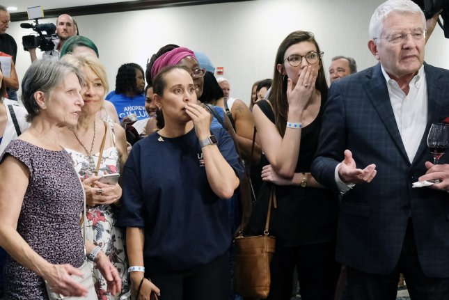 Supporters of Senator Bill Nelson react to vote numbers at a watch party in Orlando, Fla., on November 6, 2018. Nelson campaigned against Republican Rick Scott and the result remains undecided and too close to call. Photo by Gary I Rothstein/UPI