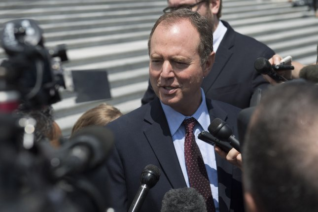 Rep. Adam Schiff, D-Calif., struck a deal with the Justice Department to get redacted material from the Mueller report. File Photo by Kevin Dietsch/UPI