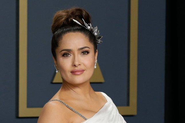 Salma Hayek discussed playing Ajak in Marvel's Eternals and played The Whisper Challenge on The Tonight Show starring Jimmy Fallon. File Photo by John Angelillo/UPI