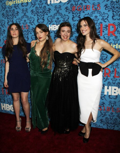Zosia Mamet, Jemima Kirke, Lena Dunham and Allison Williams arrive for the HBO premiere of Girls at the SVA Theater in New York on April 4, 2012. UPI /Laura Cavanaugh