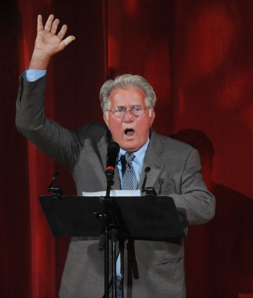 Actor Martin Sheen speaks at Weaving Moments Together, a benefit concert celebrating human rights activist Dolores Huerta's 80th birthday at the Greek Theatre in Los Angeles on August 13, 2010. UPI/Jim Ruymen