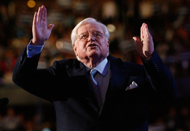 Sen. Edward Kennedy (D-MA) waves to the crowd before addressing the 2008 Democratic National Convention at the Pepsi Center in Denver, Colorado on August 25, 2008. (UPI Photo/Brian Kersey)