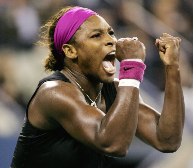 Serena Williams, second seed, of the USA, reacts as she defeats Flavia Pennetta of Italy during their quarterfinal match at the US Open Tennis Championship on September 8, 2009 in New York. Williams won 6-4, 6-3. UPI /Monika Graff .