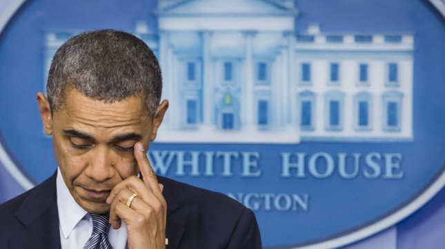 President Barack Obama delivers remarks in response to the school shooting at Sandy Hook Elementary School in Newtown, Connecticut that left at least 26 students and adults dead, at the White House in Washington on December 14, 2012. UPI/Kristoffer Tripplaar/Pool