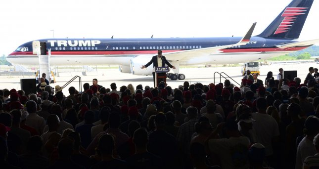Republican candidate Donald Trump speaks at a rally at Atlantic Aviation in Moon Township, Pa., on June 11. Photo by Archie Carpenter/UPI