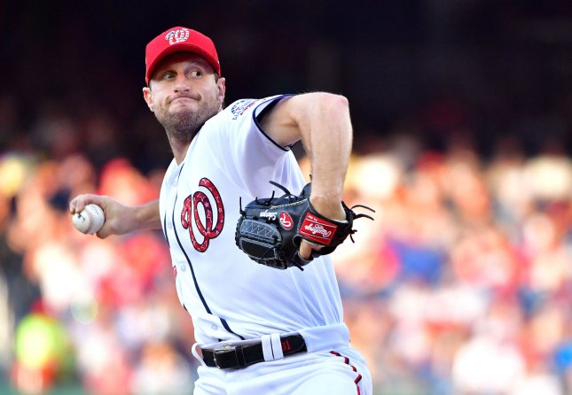 Max Scherzer and the Washington Nationals face the Atlanta Braves on Sunday. Photo by Kevin Dietsch/UPI