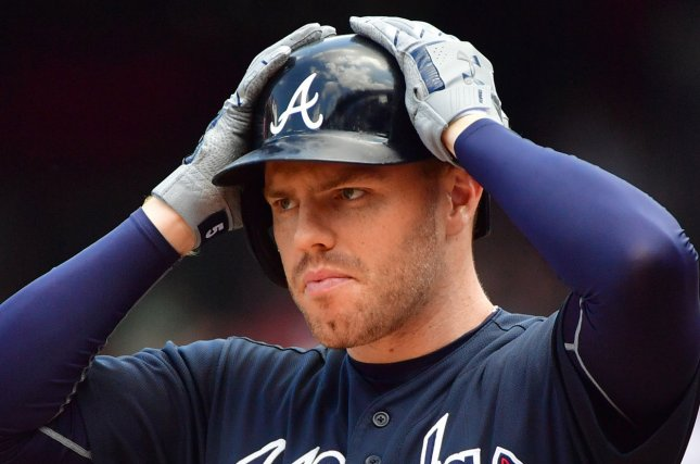 Atlanta Braves first baseman Freddie Freeman (5) prepares to bat against the Washington Nationals in the first inning on August 9 at Nationals Park in Washington, D.C. Photo by Kevin Dietsch/UPI