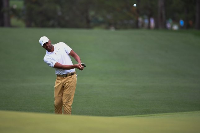 Tony Finau, who started on the back nine, recovered from two bogeys on his first three holes, making birdie on the remainder of the par-5s. He finished with a 3-under 69. File Photo by Kevin Dietsch/UPI