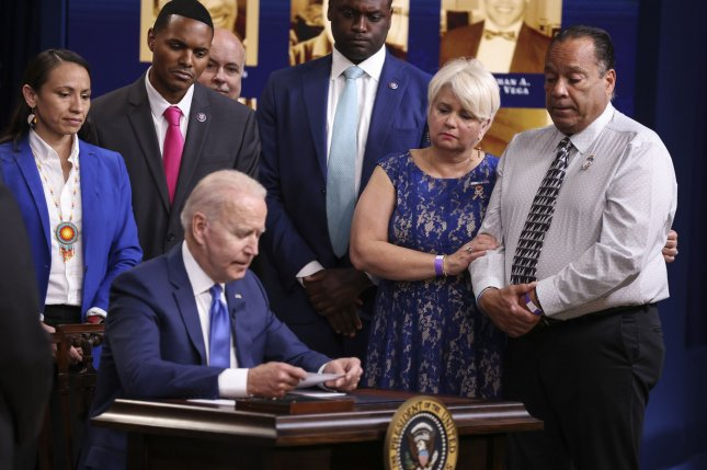 President Joe Biden speaks before signing H.R. 49 to designate the National Pulse Memorial in the South Court Auditorium of the Eisenhower Executive Office Building next to the White House on Friday. Photo by Oliver Contreras/UPI