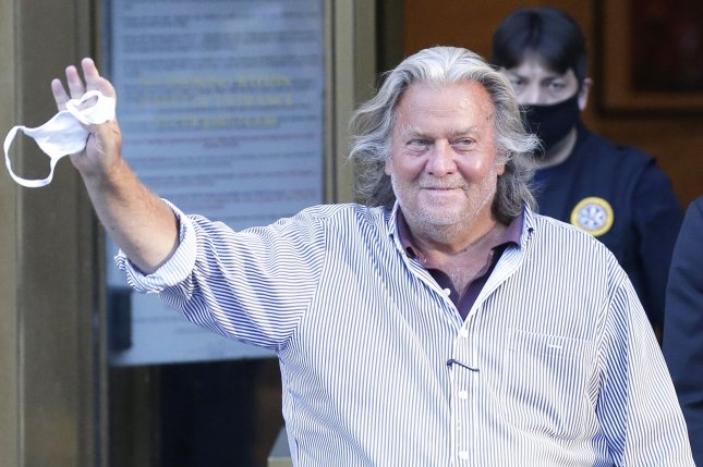 Former Trump aide Steve Bannon waves and smiles as he exits Federal Court in New York City Aug. 20, 2020. File Photo by John Angelillo/UPI