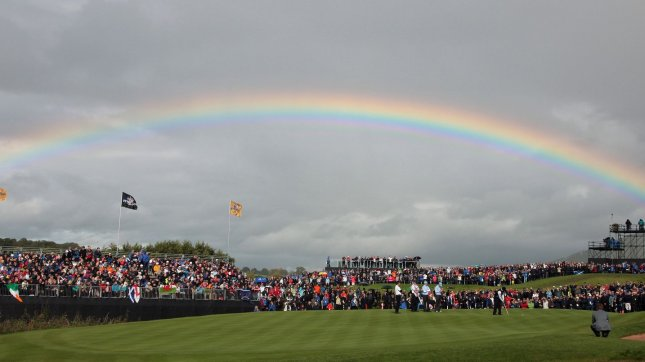 A rainbow breaks over the 12th green on the third day of the 2010 Ryder Cup at Celtic Manor resort in Newport, Wales. UPI/Hugo Philpott