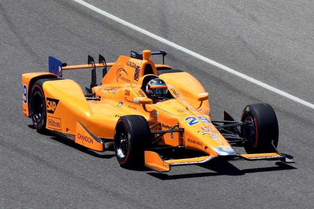 Indy Rookie and two-time Formula 1 champion Fernando Alonso enters the second turn on his qualification run during Pole Day Shoot Out qualifications at the Indianapolis Motor Speedway on May 21, 2017 in Indianapolis, Indiana. Alonso will start his first Indy 500 from the 5th position at 231.300 MPH. File photo by Larry Papke/UPI