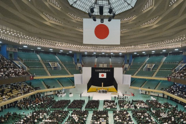 Japan honored its war dead on the 72nd anniversary of its World War II surrender Tuesday in a memorial service in Tokyo's Nippon Budokan Hall. Photo by Keizo Mori/UPI