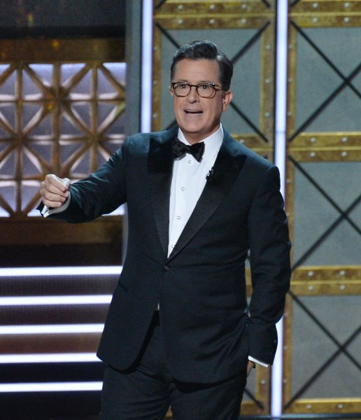 Host Stephen Colbert appears onstage at the 69th annual Primetime Emmy Awards on Sunday. Photo by Jim Ruymen/UPI