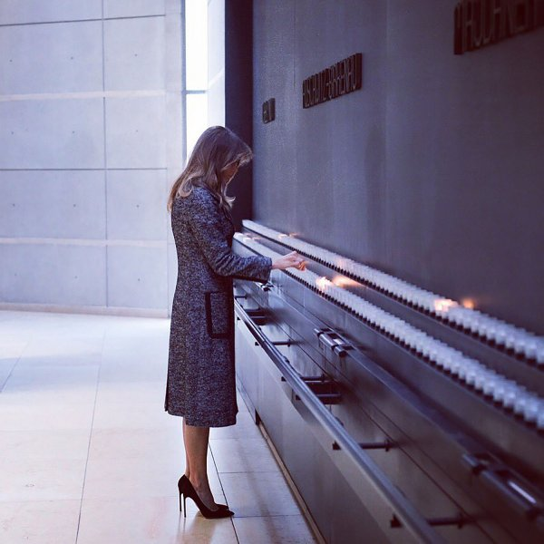 First Lady skips Davos with President Trump, visits Holocaust museum
