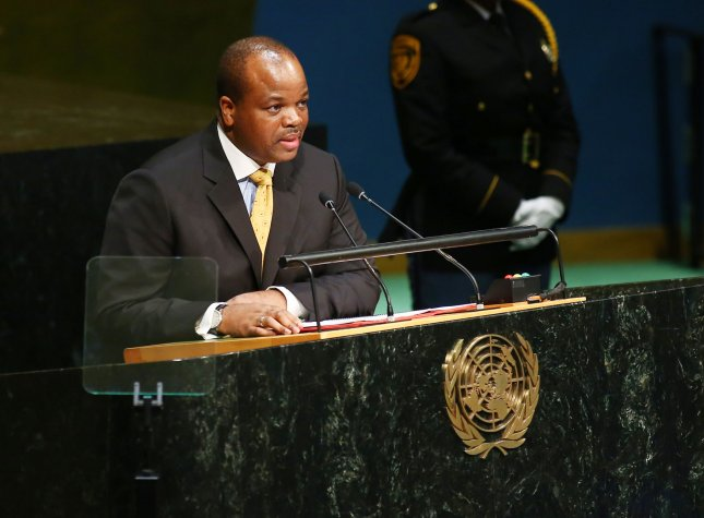 Swaziland King Mswati III addresses the United Nations General Assembly in New York City on September 29, 2015. This week, Mswati changed his country's name to eSwatini. File Photo by Monika Graff/UPI