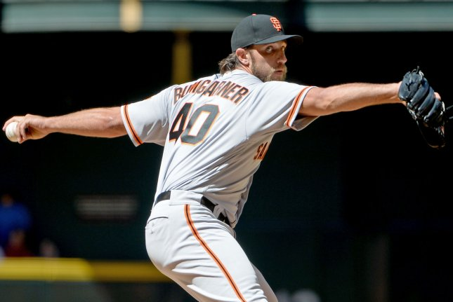 San Francisco Giants starting pitcher Madison Bumgarner delivers a pitch against the Arizona Diamondbacks on April 2, 2017 at Chase Field in Phoenix, Arizona. Photo by Art Foxall/UPI