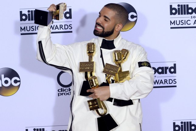 Drake posted on Instagram a photo of artwork his son Adonis made. File Photo by Jim Ruymen
