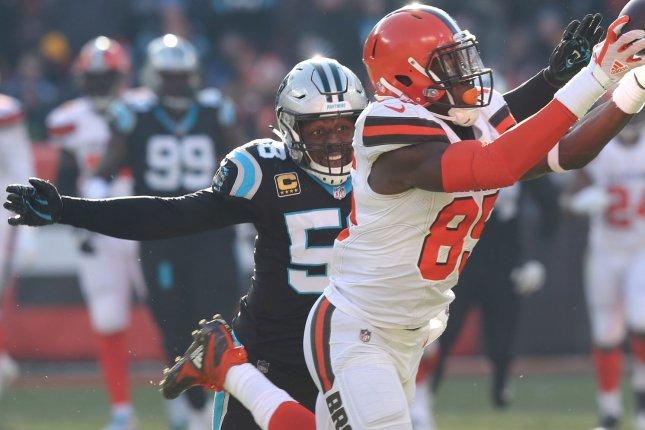 Carolina Panthers linebacker Thomas Davis closes in on Cleveland Browns tight end David Njoku during their game at First Energy Stadium on December 9, 2018. Photo by Aaron Josefczyk/UPI