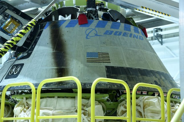 A Boeing Starliner spacecraft at Kennedy Space Center, Fla., following its launch and landing in December. Photo by Joe Marino/UPI