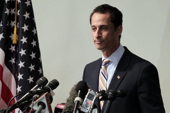 Rep. Anthony Weiner speaks at a press conference after announcing his resignation at the Council Center For Seniors in New York City on June 16, 2011. File Photo by John Angelillo/UPI