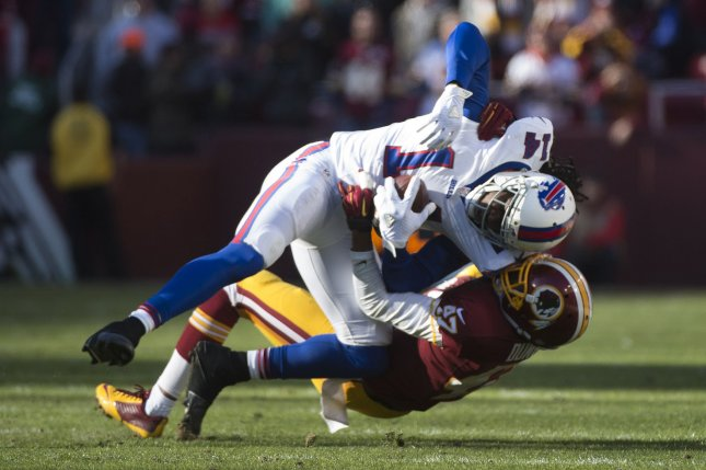 Buffalo Bills wide receiver Sammy Watkins (14) is tackled by Washington Redskins cornerback Quinton Dunbar (47) after a short gain in the second quarter at FedEx Field in Landover, Maryland. File photo by Kevin Dietsch/UPI