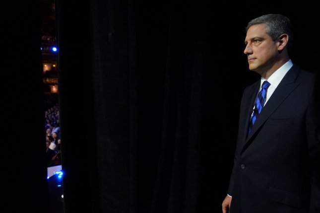 Ohio Rep. Tim Ryan waits to be introduced at a Democratic primary debate in Detroit, Mich., on July 30. File Photo by John Nowak/CNN/UPI