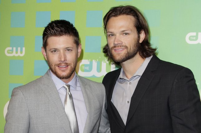 Jared Padalecki (R) reacted to his exclusion from his Supernatural co-star Jensen Ackles' upcoming prequel series. File Photo by John Angelillo/UPI