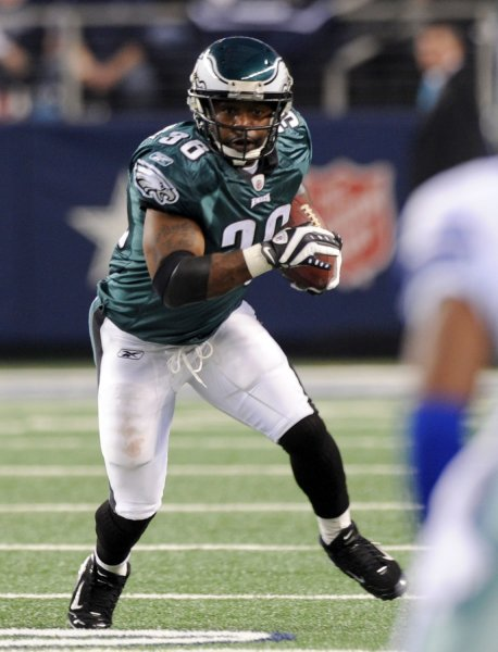 Philadelphia Eagles running back Brian Westbrook, shown in a January 2010 game, retired Wednesday as a member of the Eagles. UPI/Ian Halperin