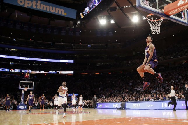 Phoenix Suns Gerald Green dunks the basketball in the first half against the New York Knicks at Madison Square Garden in New York City on January 13, 2014. The Knicks defeated the Suns 98-96 in overtime. UPI/John Angelillo