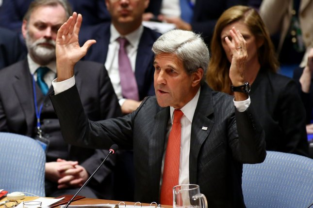U.S Secretary of State John Kerry talks about the recent attacks in Syria during the Security Council meeting at the United Nations in New York City on Wednesday. Kerry decried the attack on an aid convoy last weekend and another on a hospital facility near Aleppo. Photo by Monika Graff/UPI