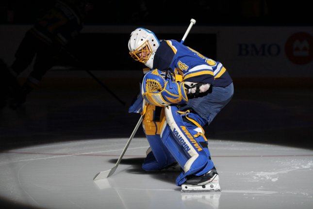St. Louis Blues goaltender Jake Allen made 26 saves as the Blues stayed hot with a 4-2 win over the Colorado Avalanche on Tuesday. File Photo by Bill Greenblatt/UPI