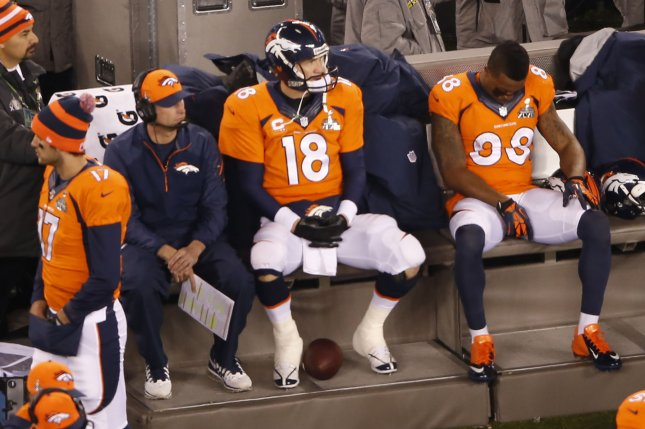 Former Denver Broncos quarterback Peyton Manning (18) sits on the bench alongside offensive coordinator Adam Gase (L) and wide receiver Demaryius Thomas during the fourth quarter at Super Bowl XLVIII on February 2 at MetLife Stadium in East Rutherford, N.J. Photo by Aaron Sprecher/UPI
