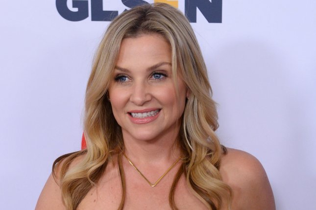 Jessica Capshaw reflected in a video during her last day filming Grey's Anatomy at Prospect Studios. File Photo by Jim Ruymen/UPI