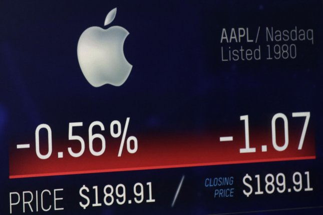 Shares of Apple are reflected by a ticker on the Nasdaq Monday. Thursday, the shares rose to more than $207, making the public U.S. company the first to reach a $1 trillion market capitalization. Photo by John Angelillo/UPI
