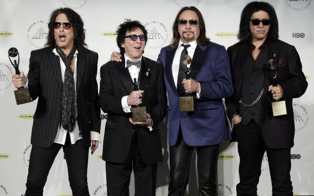 KISS members, left to right, Paul Stanley, Peter Criss, Ace Frehley and Gene Simmons. KISS has announced the concert dates for their final tour. File Photo by John Angelillo/UPI