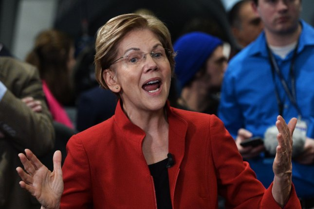 Democratic presidential candidate Sen. Elizabeth Warren unveiled a bankruptcy reform proposal Tuesday. File photo by Jim Ruymen/UPI