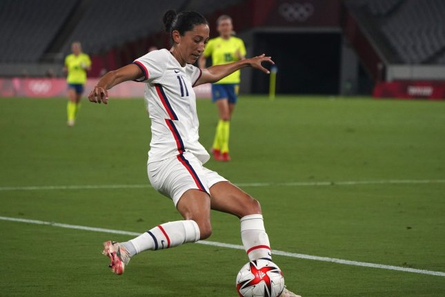 United States Women's National Team forward Christen Press takes a shot against Sweden in a group stage game at the 2020 Summer Games on Wednesday at Tokyo Stadium in Tokyo. Photo by Richard Ellis/UPI