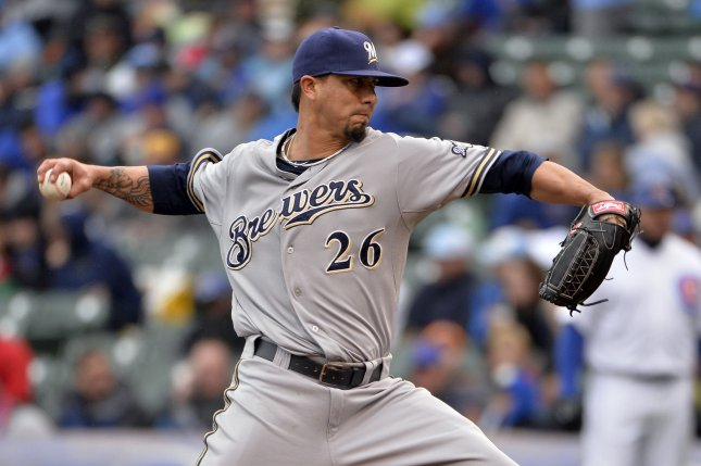 Milwaukee Brewers starting pitcher Kyle Lohse delivers during the third inning against the Chicago Cubs at Wrigley Field in Chicago on May 16, 2014 in Chicago. UPI/Brian Kersey