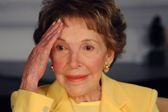 A private funeral service is scheduled for Friday morning for former first lady Nancy Reagan, seen here gesturing during a photo opportunity at the Ronald Reagan Presidential Library in Simi Valley, Calif., in 2010. She died on Sunday at the age of 94 due to congestive heart failure. File photo by Jim Ruymen/UPI